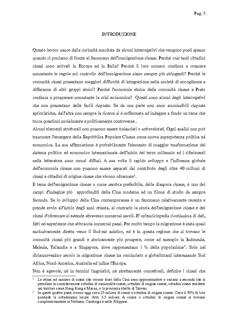 Anteprima della tesi: I cinesi di Wenzhou a Prato e in Europa: nascita e sviluppo di una rete socio-economica trasnazionale, Pagina 2