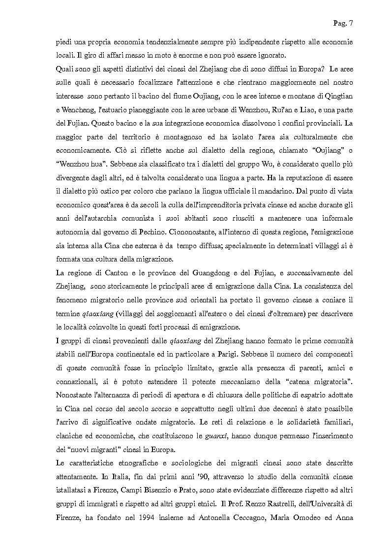 Anteprima della tesi: I cinesi di Wenzhou a Prato e in Europa: nascita e sviluppo di una rete socio-economica trasnazionale, Pagina 4