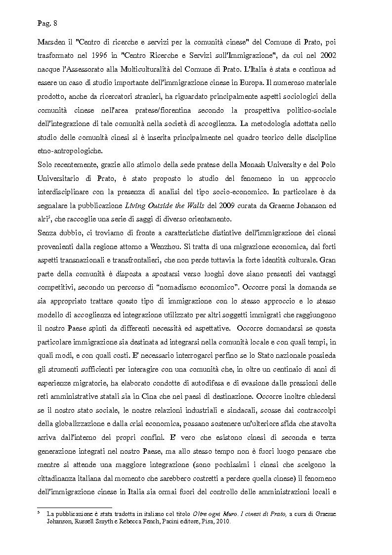 Anteprima della tesi: I cinesi di Wenzhou a Prato e in Europa: nascita e sviluppo di una rete socio-economica trasnazionale, Pagina 5