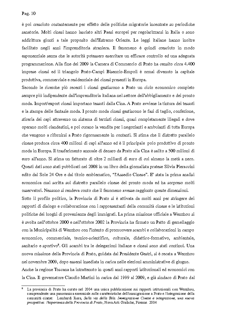 Anteprima della tesi: I cinesi di Wenzhou a Prato e in Europa: nascita e sviluppo di una rete socio-economica trasnazionale, Pagina 7