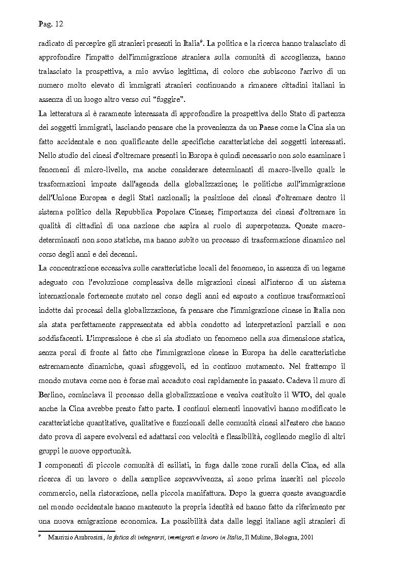 Anteprima della tesi: I cinesi di Wenzhou a Prato e in Europa: nascita e sviluppo di una rete socio-economica trasnazionale, Pagina 9