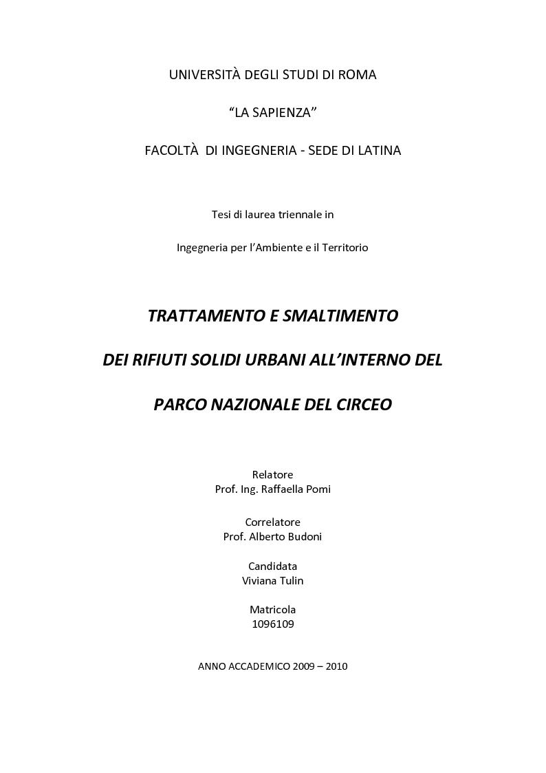 Anteprima della tesi: Trattamento e smaltimento dei Rifiuti Solidi Urbani all'interno del Parco Nazionale del Circeo, Pagina 1