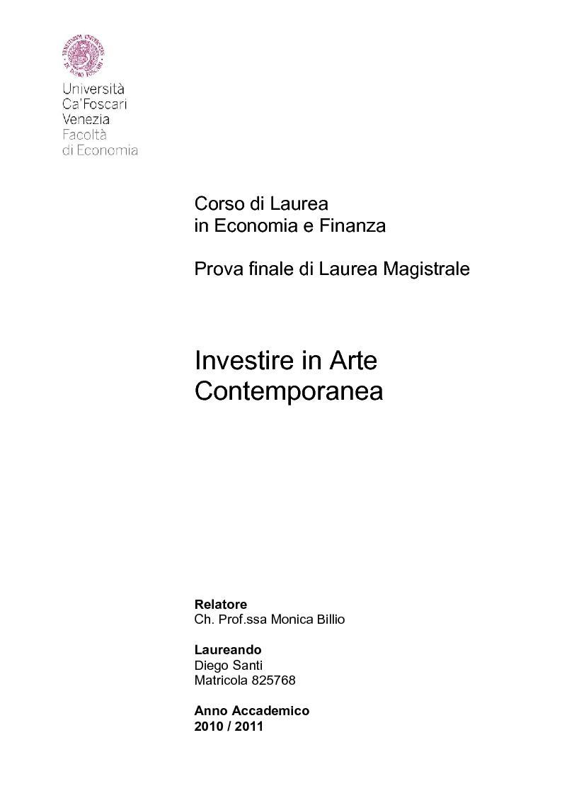 Anteprima della tesi: Investire in Arte Contemporanea, Pagina 1