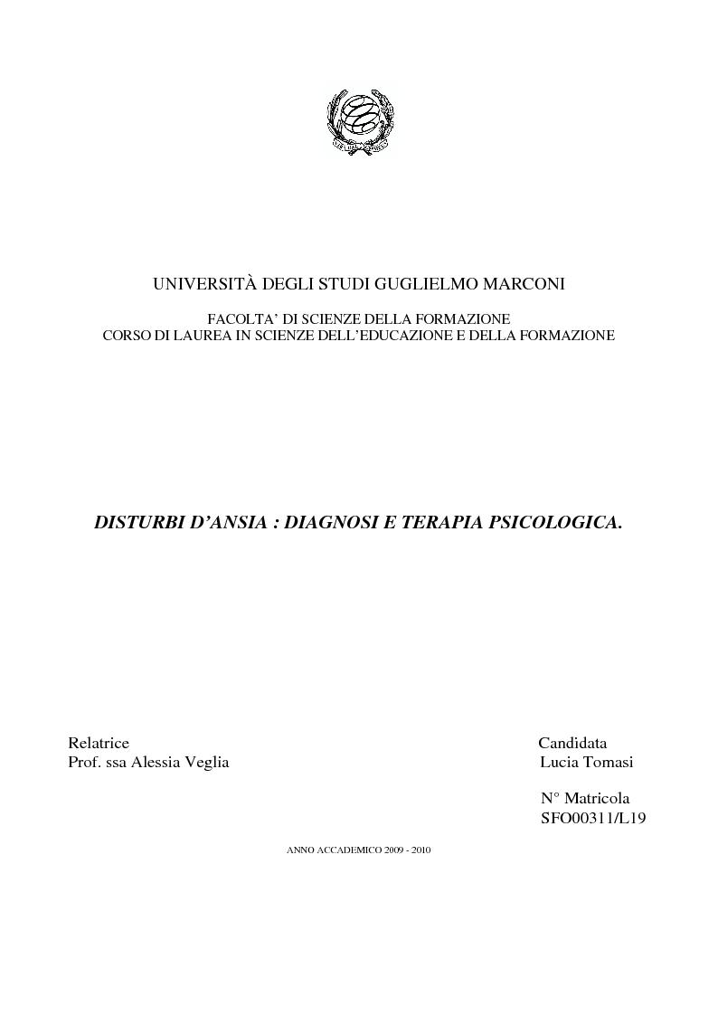 Anteprima della tesi: Disturbi d'ansia: diagnosi e terapia psicologica, Pagina 1