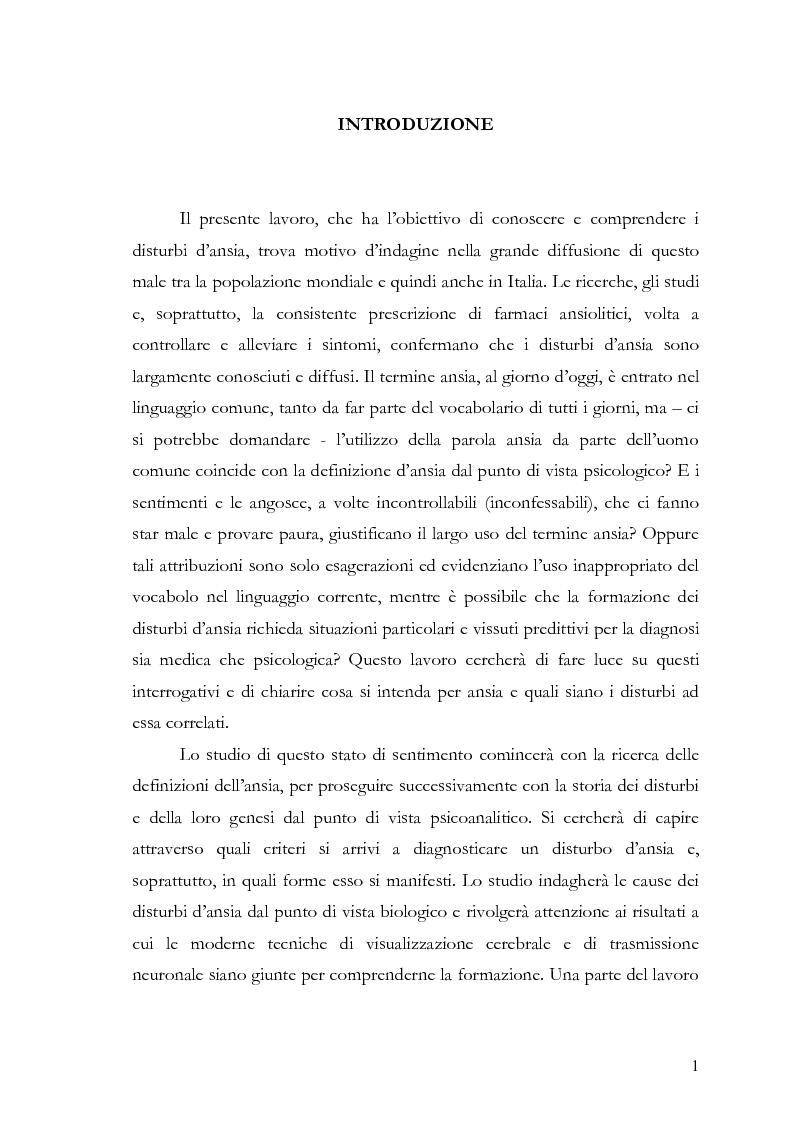 Anteprima della tesi: Disturbi d'ansia: diagnosi e terapia psicologica, Pagina 2