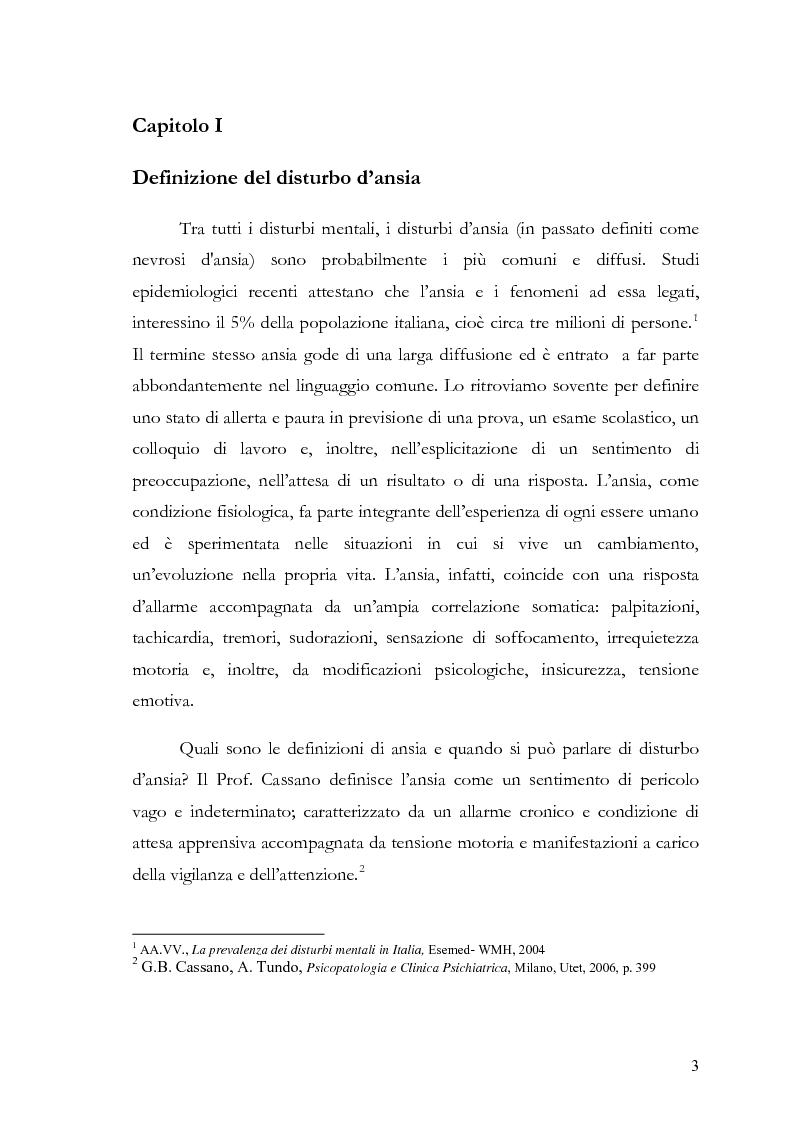 Anteprima della tesi: Disturbi d'ansia: diagnosi e terapia psicologica, Pagina 4