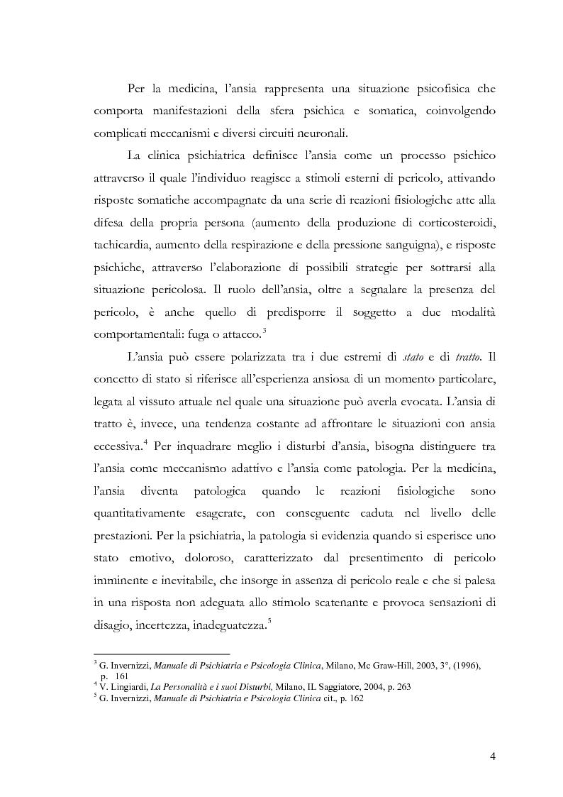 Anteprima della tesi: Disturbi d'ansia: diagnosi e terapia psicologica, Pagina 5