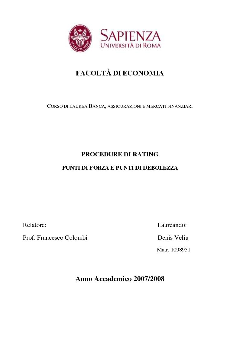 Anteprima della tesi: Procedure di Rating. Punti di forza e punti di debolezza, Pagina 1