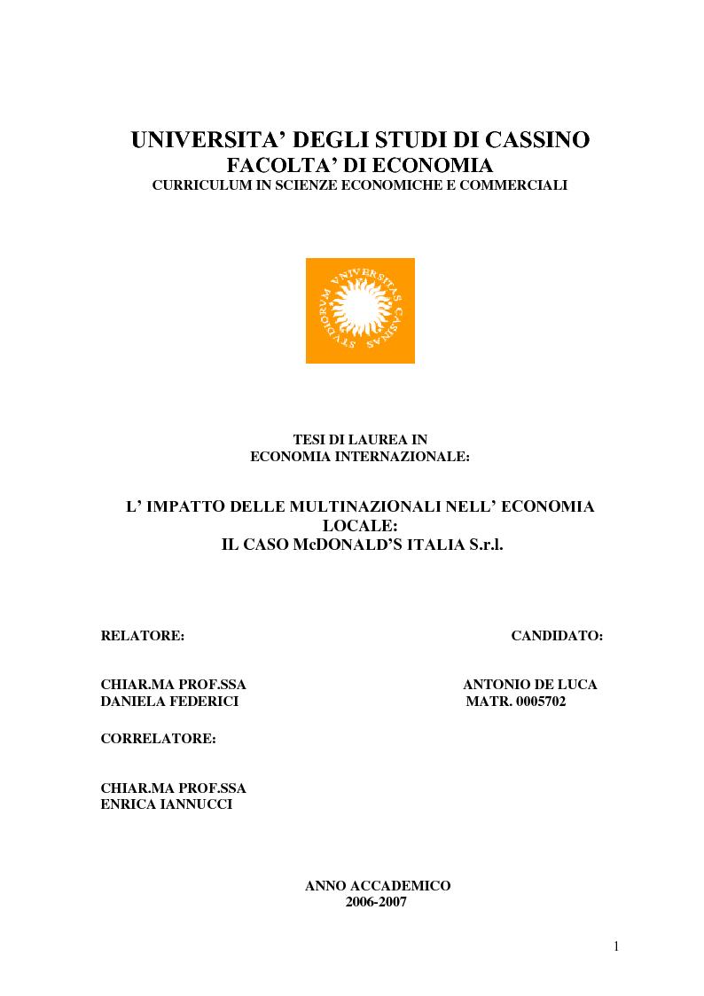 Anteprima della tesi: L'impatto delle multinazionali nell'economia locale: il caso McDONALD'S Italia S.r.l., Pagina 1