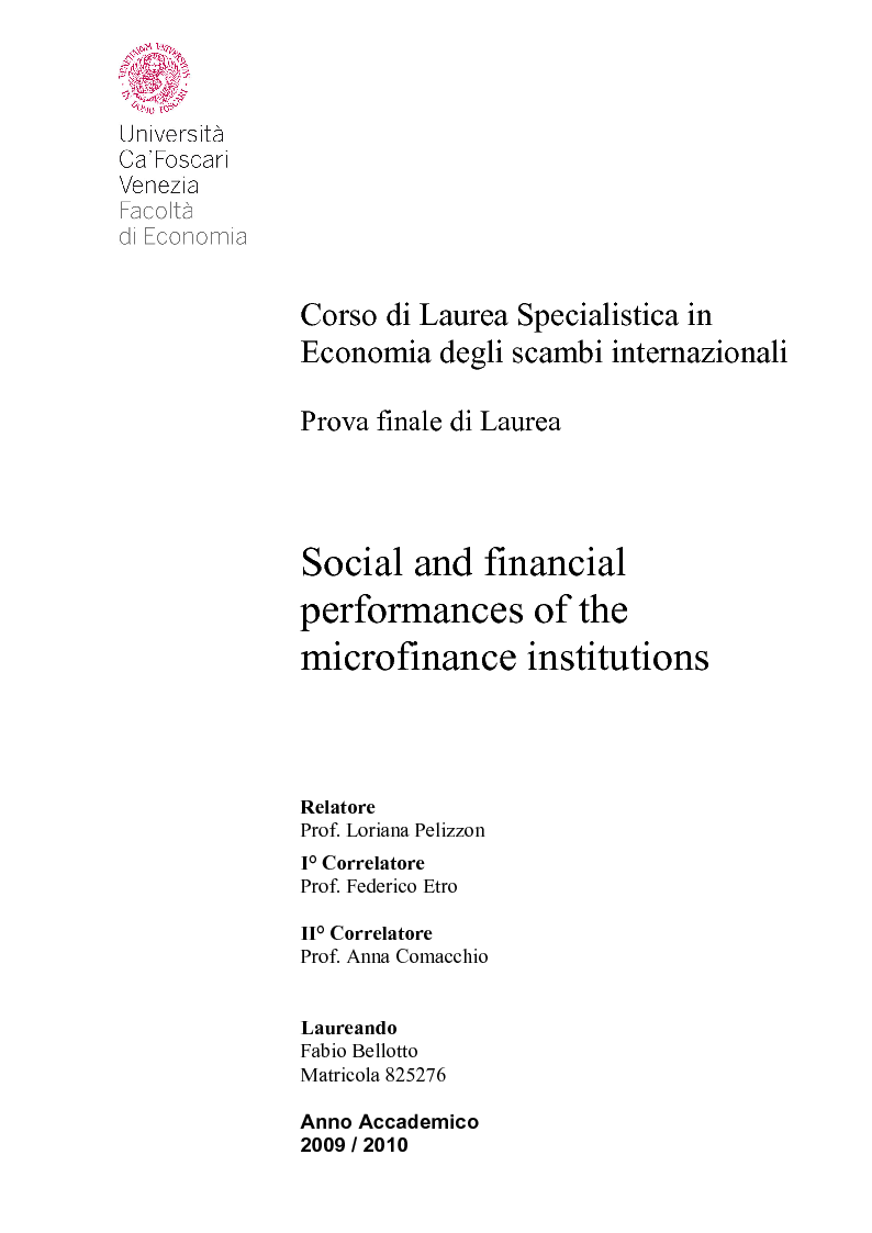 Anteprima della tesi: Social and financial performances of the microfinance institutions, Pagina 1