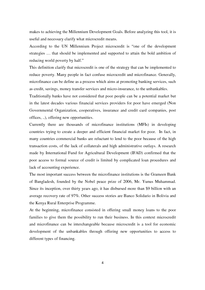 Anteprima della tesi: Social and financial performances of the microfinance institutions, Pagina 5