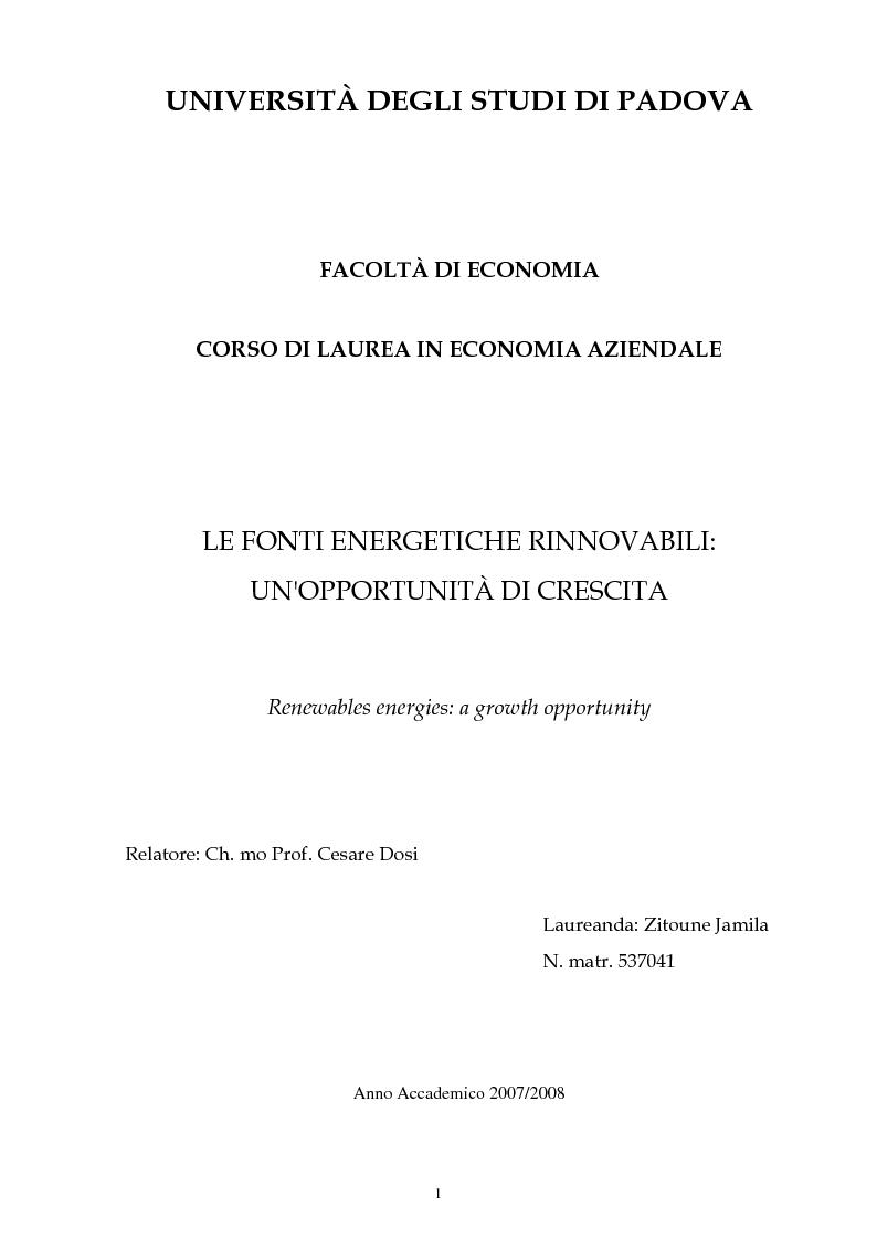 Anteprima della tesi: Le fonti energetiche rinnovabili: un'opportunità di crescita, Pagina 1