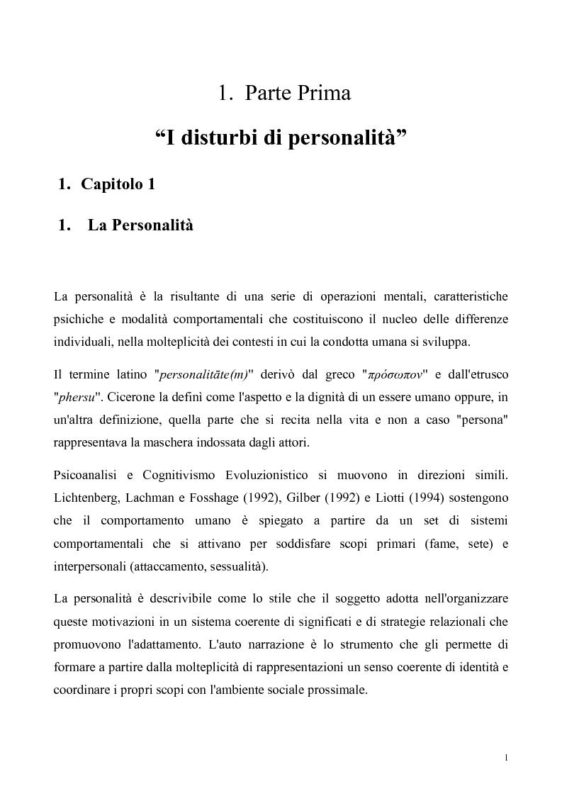 Anteprima della tesi: ''Al di là dei confini''. Disturbo Borderline di Personalità. Un ipotesi integrativa tra i modelli psicoanalitico e cognitivo, Pagina 2