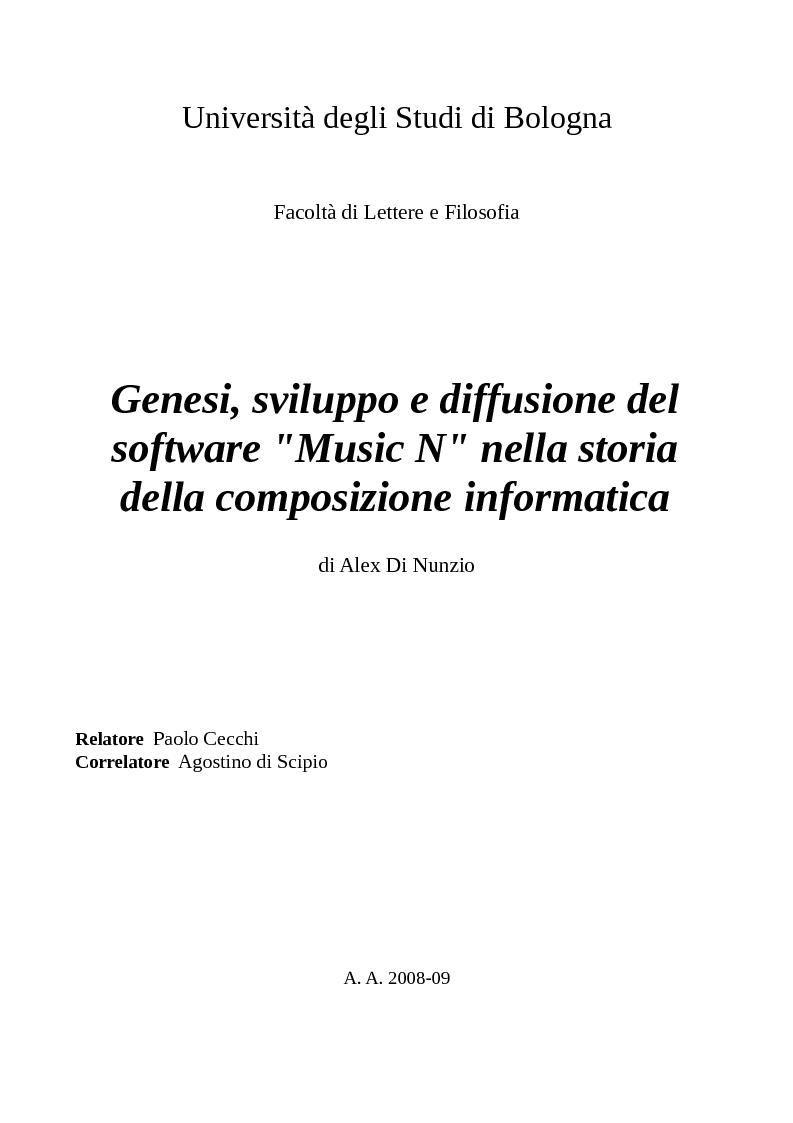 """Anteprima della tesi: Genesi, sviluppo e diffusione del software """"Music N"""" nella storia della composizione informatica., Pagina 1"""