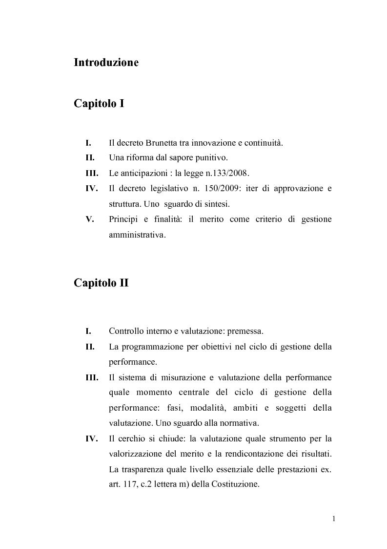 Indice della tesi: Il governo meritocratico delle risorse umane nella pubblica amministrazione: valutazione e premi alla luce del d.lgs. n. 150/2009, Pagina 1