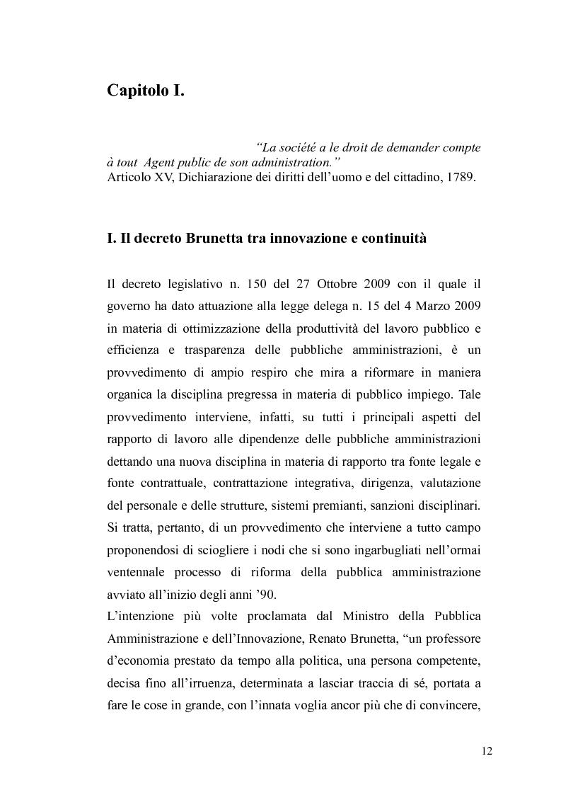 Anteprima della tesi: Il governo meritocratico delle risorse umane nella pubblica amministrazione: valutazione e premi alla luce del d.lgs. n. 150/2009, Pagina 10