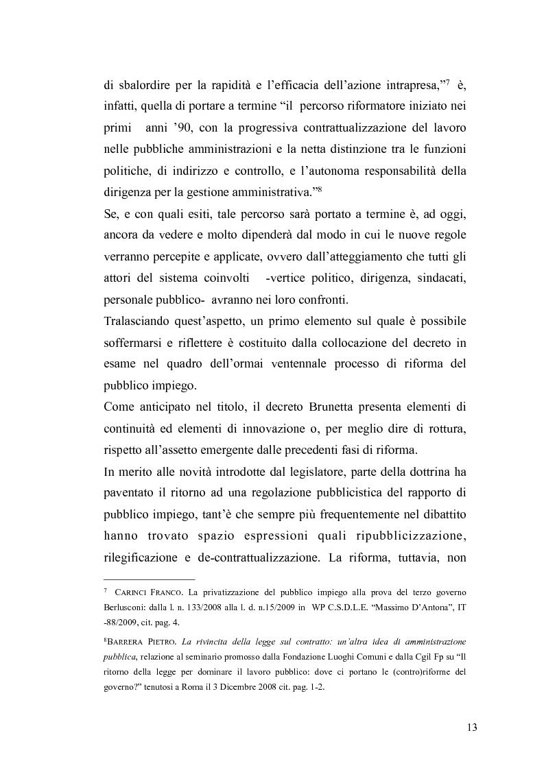 Anteprima della tesi: Il governo meritocratico delle risorse umane nella pubblica amministrazione: valutazione e premi alla luce del d.lgs. n. 150/2009, Pagina 11