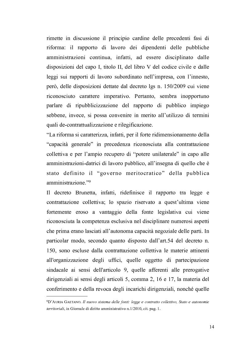 Anteprima della tesi: Il governo meritocratico delle risorse umane nella pubblica amministrazione: valutazione e premi alla luce del d.lgs. n. 150/2009, Pagina 12