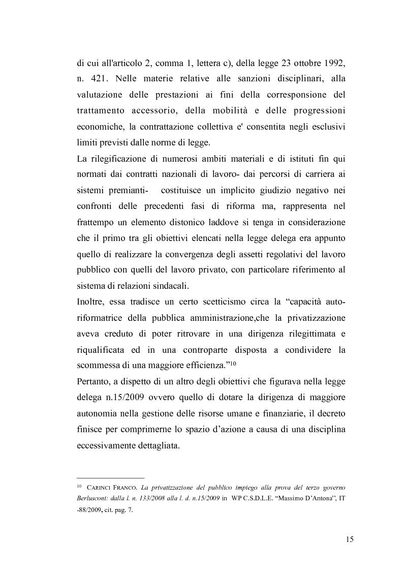 Anteprima della tesi: Il governo meritocratico delle risorse umane nella pubblica amministrazione: valutazione e premi alla luce del d.lgs. n. 150/2009, Pagina 13