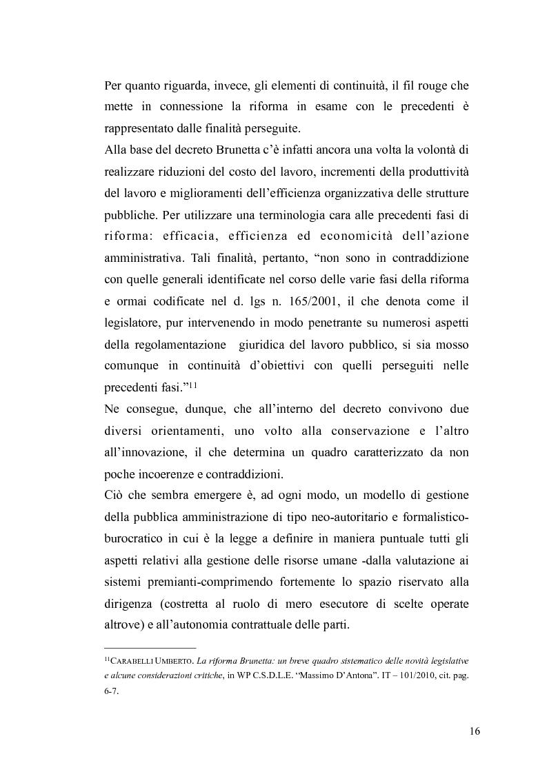 Anteprima della tesi: Il governo meritocratico delle risorse umane nella pubblica amministrazione: valutazione e premi alla luce del d.lgs. n. 150/2009, Pagina 14