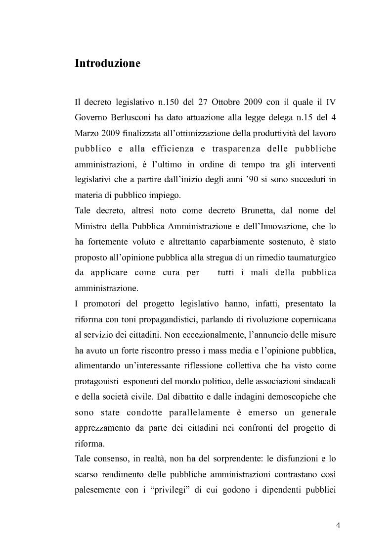 Anteprima della tesi: Il governo meritocratico delle risorse umane nella pubblica amministrazione: valutazione e premi alla luce del d.lgs. n. 150/2009, Pagina 2