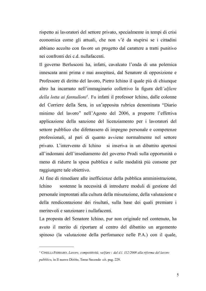Anteprima della tesi: Il governo meritocratico delle risorse umane nella pubblica amministrazione: valutazione e premi alla luce del d.lgs. n. 150/2009, Pagina 3