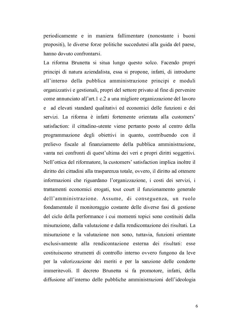 Anteprima della tesi: Il governo meritocratico delle risorse umane nella pubblica amministrazione: valutazione e premi alla luce del d.lgs. n. 150/2009, Pagina 4