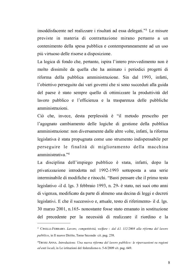 Anteprima della tesi: Il governo meritocratico delle risorse umane nella pubblica amministrazione: valutazione e premi alla luce del d.lgs. n. 150/2009, Pagina 6