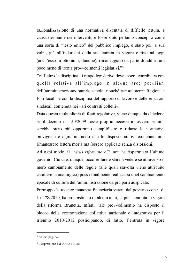Anteprima della tesi: Il governo meritocratico delle risorse umane nella pubblica amministrazione: valutazione e premi alla luce del d.lgs. n. 150/2009, Pagina 7