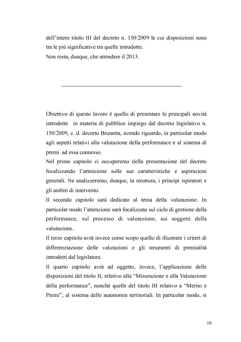 Anteprima della tesi: Il governo meritocratico delle risorse umane nella pubblica amministrazione: valutazione e premi alla luce del d.lgs. n. 150/2009, Pagina 8