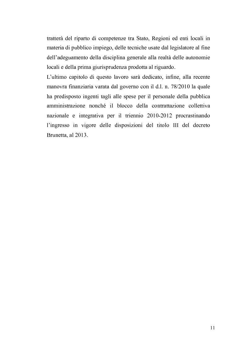 Anteprima della tesi: Il governo meritocratico delle risorse umane nella pubblica amministrazione: valutazione e premi alla luce del d.lgs. n. 150/2009, Pagina 9
