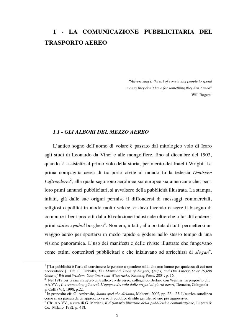 Anteprima della tesi: La comunicazione pubblicitaria delle compagnie aeree. Il caso Alitalia, Pagina 2