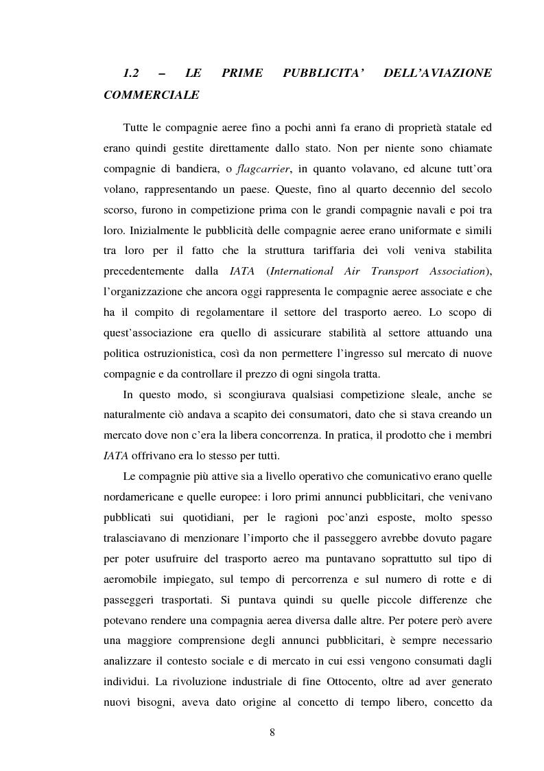 Anteprima della tesi: La comunicazione pubblicitaria delle compagnie aeree. Il caso Alitalia, Pagina 5