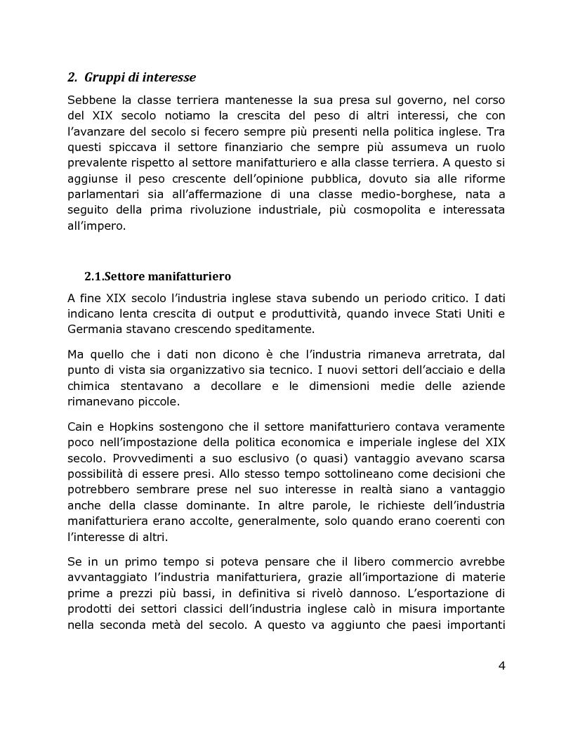 Anteprima della tesi: Il Dibattito su sistema finanziario, politica imperiale e colonialismo inglese, 1870 – 1914, Pagina 3