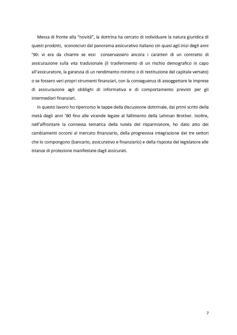 Anteprima della tesi: I prodotti assicurativi-finanziari, tra investimento, risparmio, previdenza. Profili giuridici, Pagina 3