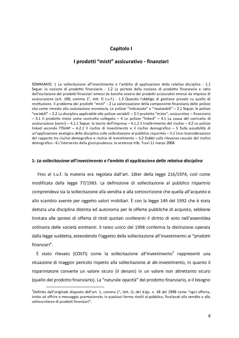 Anteprima della tesi: I prodotti assicurativi-finanziari, tra investimento, risparmio, previdenza. Profili giuridici, Pagina 4