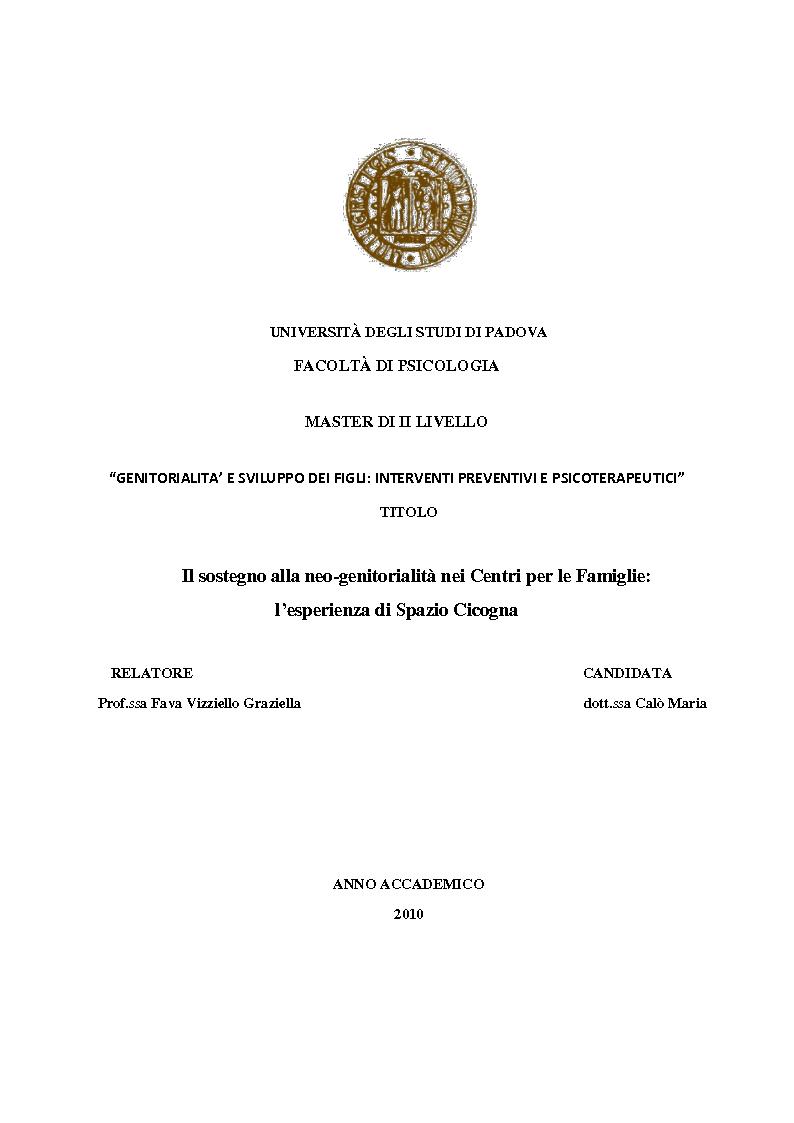 Anteprima della tesi: Il sostegno alla neo-genitorialità nei Centri per le Famiglie: l'esperienza di Spazio Cicogna, Pagina 1