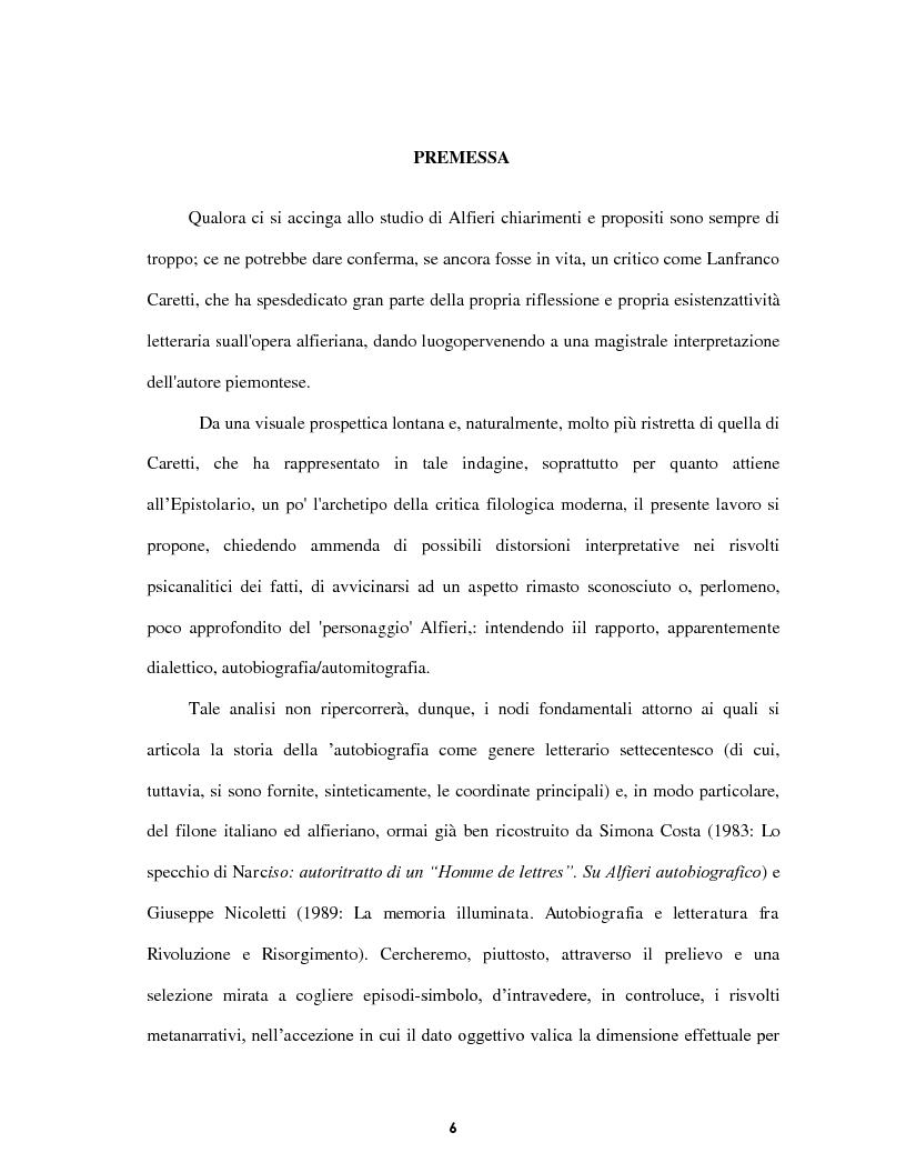 Anteprima della tesi: Le voci dell'Io. Autobiografia e automitografia nell'opera di Vittorio Alfieri, Pagina 3