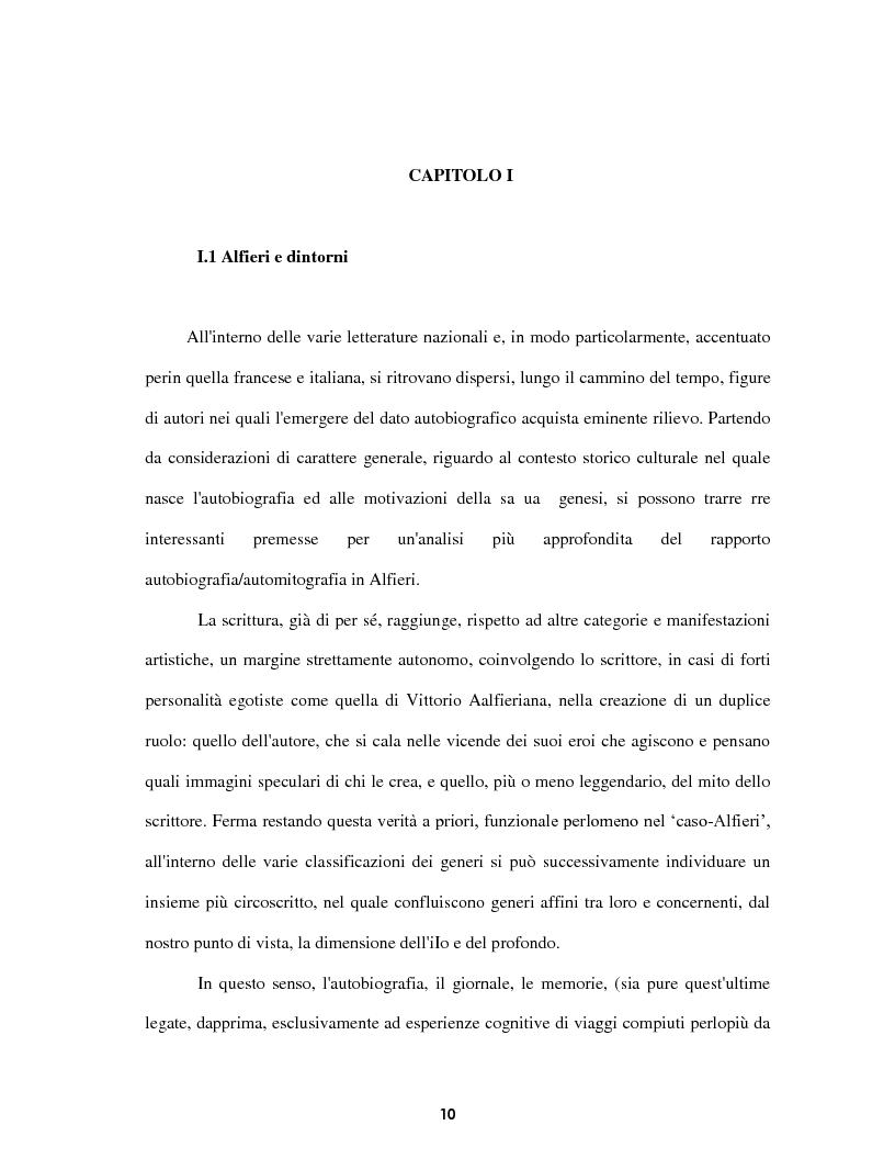 Anteprima della tesi: Le voci dell'Io. Autobiografia e automitografia nell'opera di Vittorio Alfieri, Pagina 7