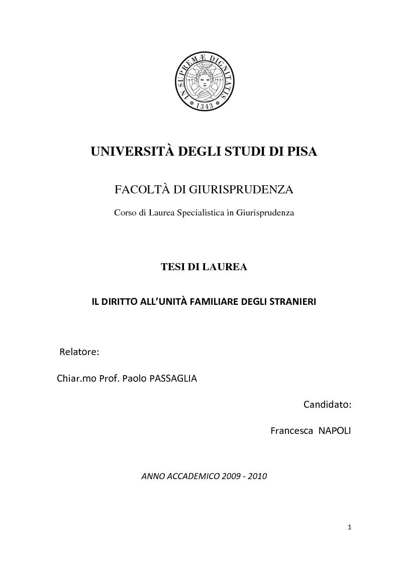 Anteprima della tesi: Diritto all'unità familiare degli stranieri in Italia, Pagina 1