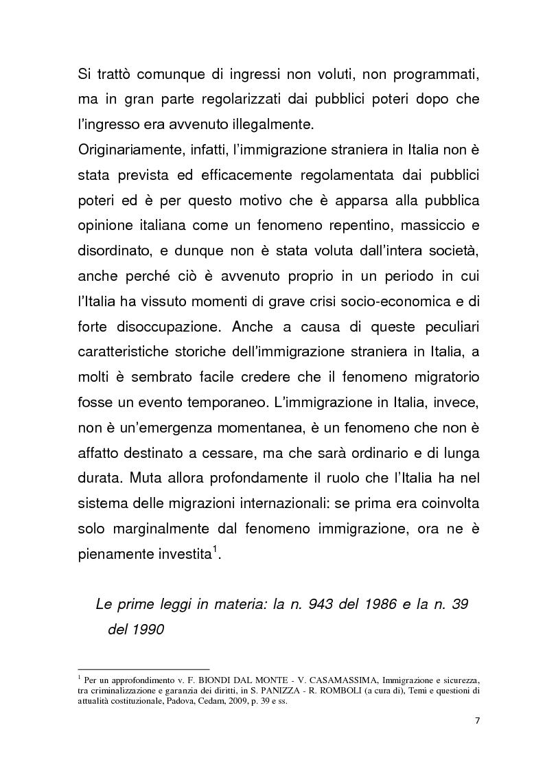 Anteprima della tesi: Diritto all'unità familiare degli stranieri in Italia, Pagina 3