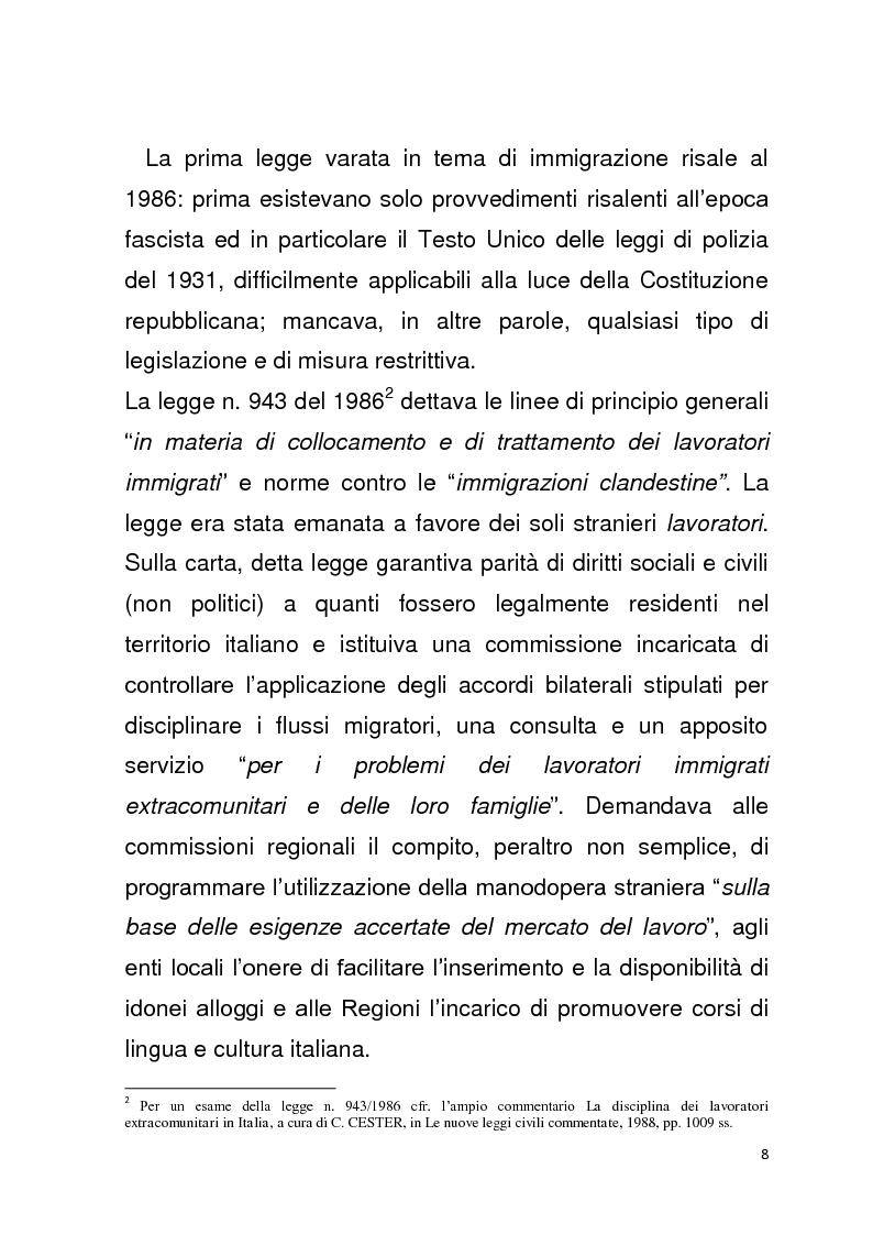 Anteprima della tesi: Diritto all'unità familiare degli stranieri in Italia, Pagina 4