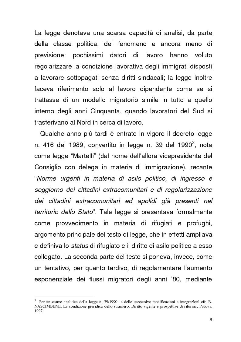 Anteprima della tesi: Diritto all'unità familiare degli stranieri in Italia, Pagina 5