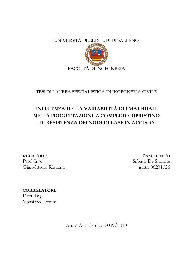 Anteprima della tesi: Influenza della variabilità dei materiali nella progettazione a completo ripristino di resistenza dei nodi di base in acciaio, Pagina 1