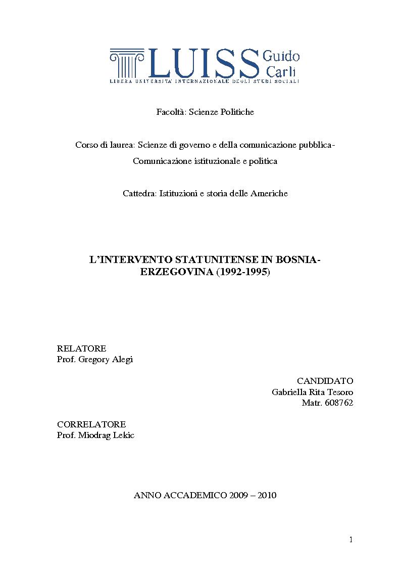 Anteprima della tesi: L'intervento statunitense in Bosnia-Erzegovina (1992-1995), Pagina 1