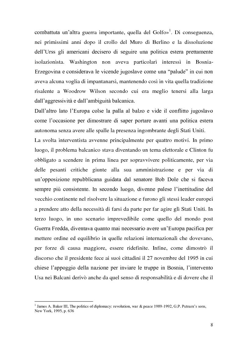 Anteprima della tesi: L'intervento statunitense in Bosnia-Erzegovina (1992-1995), Pagina 3