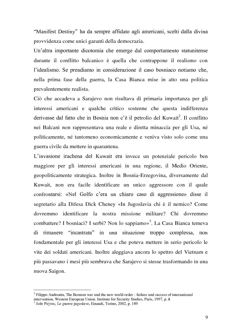 Anteprima della tesi: L'intervento statunitense in Bosnia-Erzegovina (1992-1995), Pagina 4