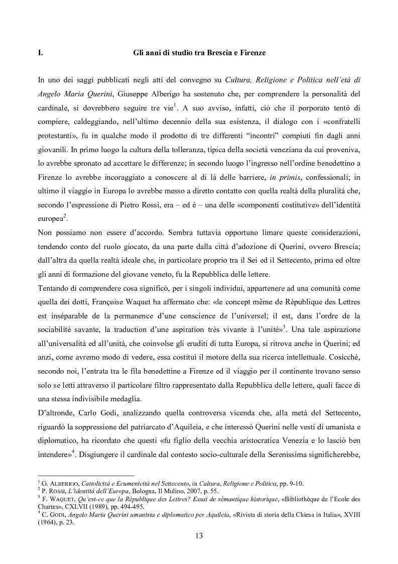 Anteprima della tesi: Erudizione e religione. Angelo Maria Querini e il respiro dell'Europa, Pagina 10