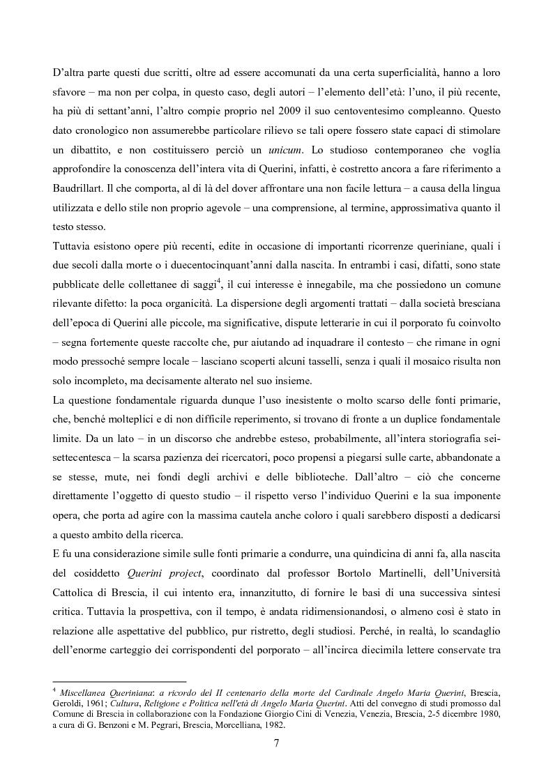 Anteprima della tesi: Erudizione e religione. Angelo Maria Querini e il respiro dell'Europa, Pagina 4