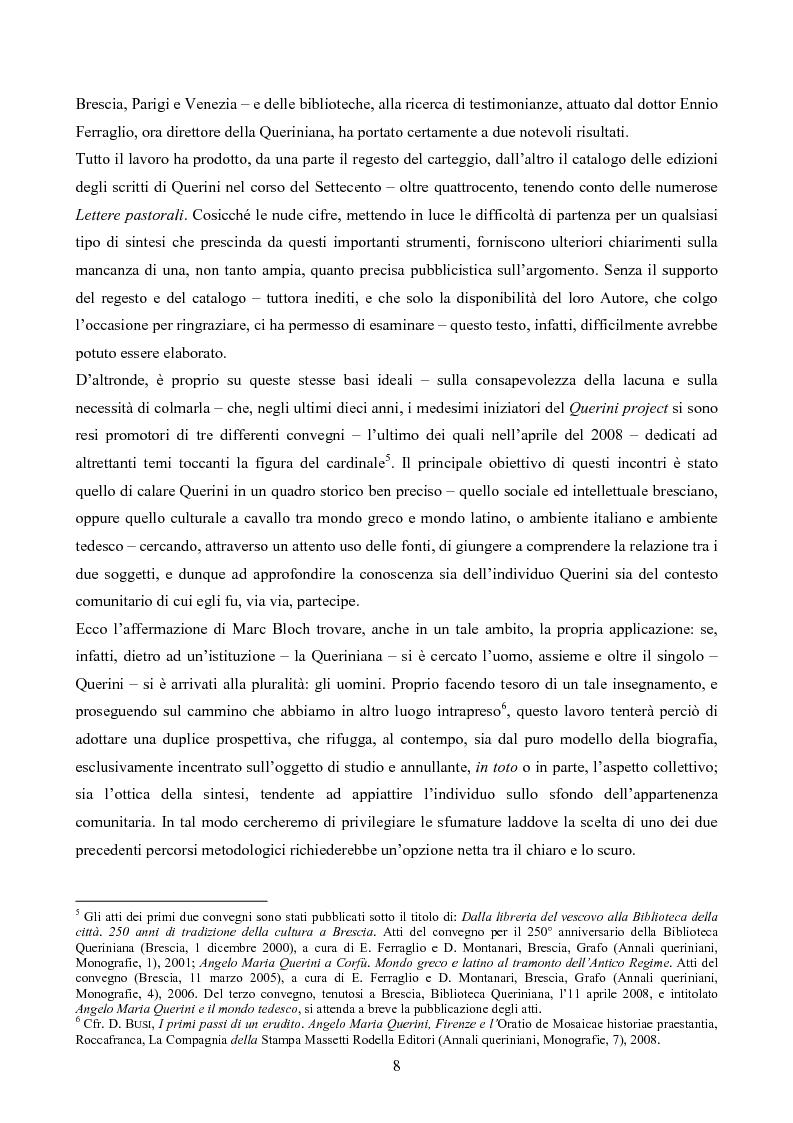 Anteprima della tesi: Erudizione e religione. Angelo Maria Querini e il respiro dell'Europa, Pagina 5